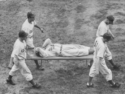 Pete Reiser On stretcher