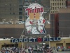 Target Field Staff Places Paper Bags over Minnie and Paul's Heads