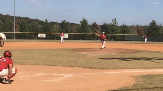 My son pitching (Fall 2019)