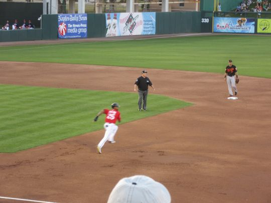 Buxton going first to third on a single to right