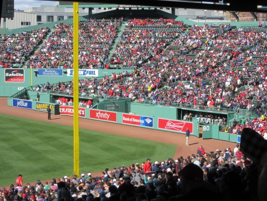 View of the bleachers late in the game
