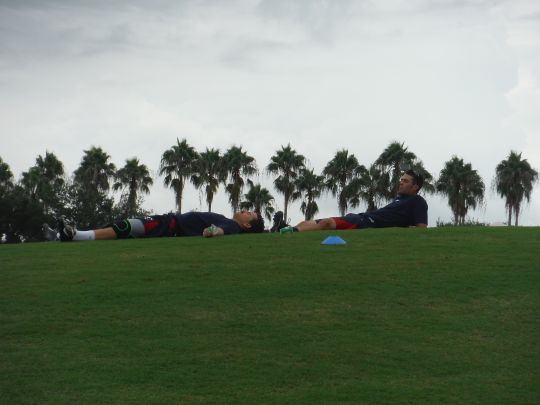 Jason Kanzler and Chad Christensen laying out after their turn