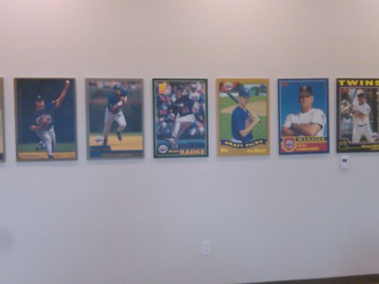 Blow up of old baseball cards in Player Complex